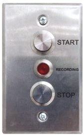 Image of the stainless steel panel on the wall or lectern used turn on the button panel AV system. From top to bottom, the buttons are labelled Start and Stop. In the middle is a light that activates when recording is on.