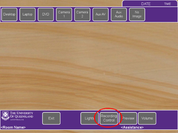 Screenshot of the touch panel AV system highlighting the button used to record