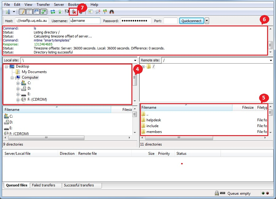 Screenshot of FileZilla with numbers corresponding to numbered items in the text of this section.