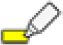 Icon of a pen with a drawn thick yellow line