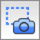 Icon of a camera with a dotted outline square