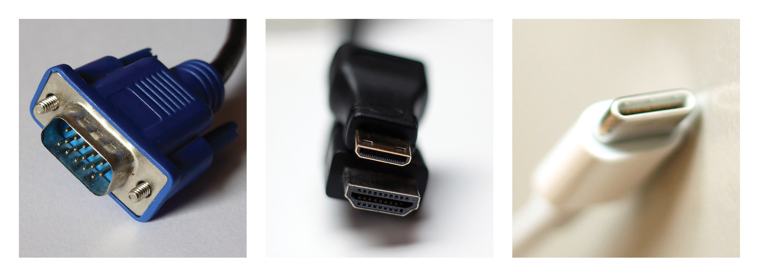 VGA, HDMI and USB-C connectors.