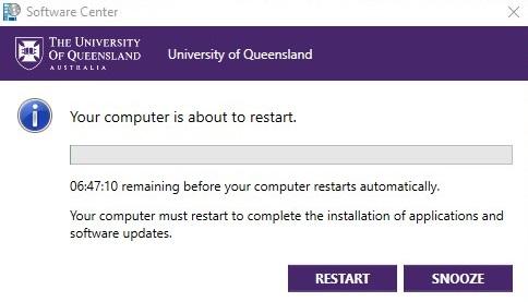 Example of the Windows updates restart window.