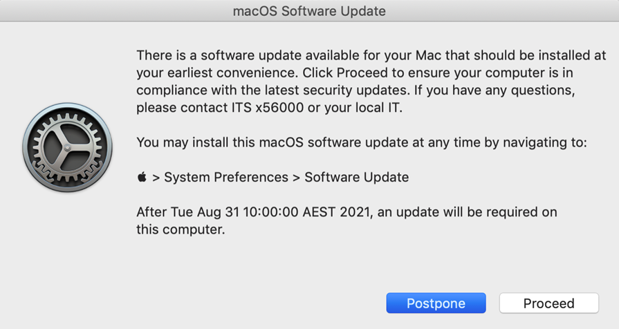Example of a macOS software update pop-up notification.