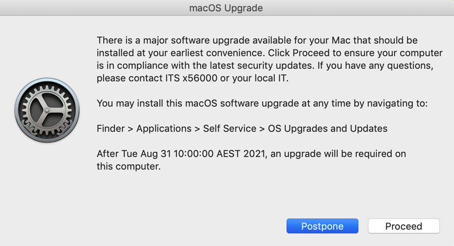 Example of a macOS major software update pop-up notification.