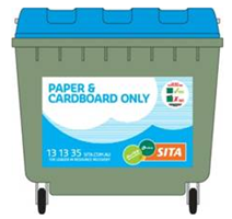 Paper and cardboard only green wheelie bin with blue lid