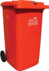 Red confidential materials wheelie bin