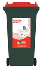 General waste green wheelie bin with red lid